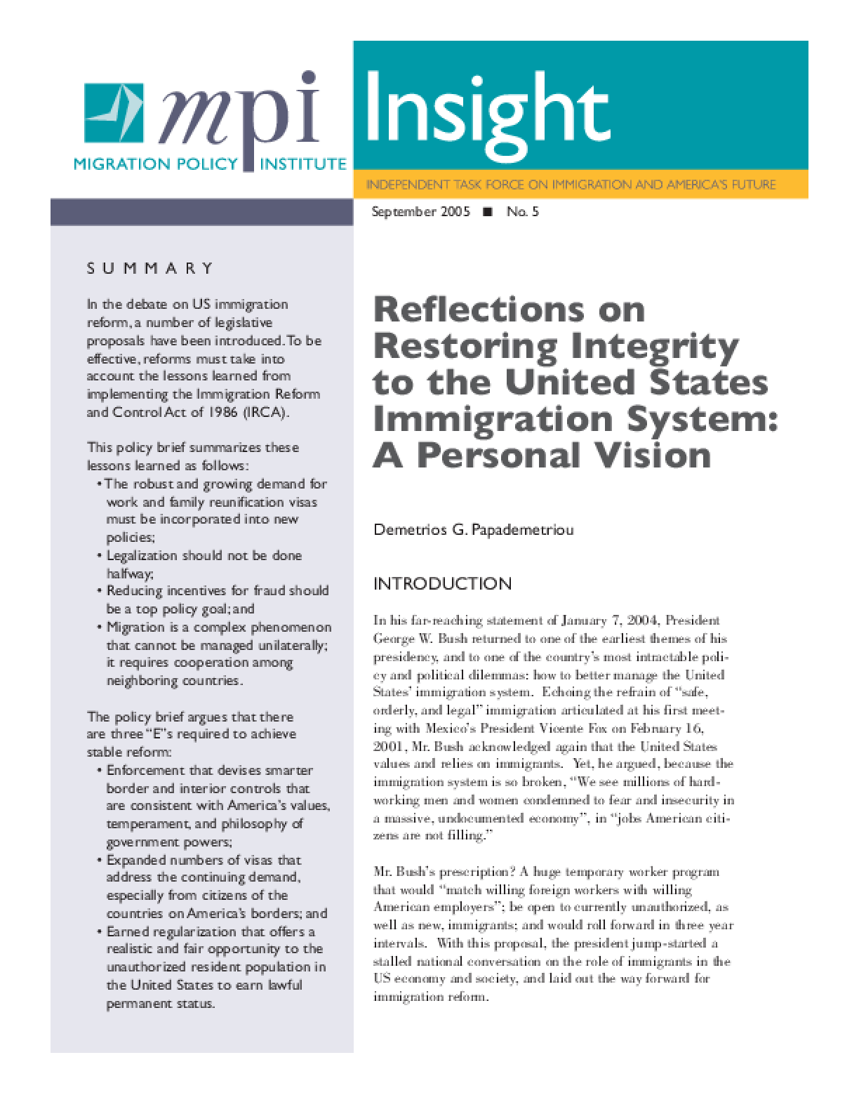 Reflections on Restoring Integrity to the United States Immigration System: A Personal Vision