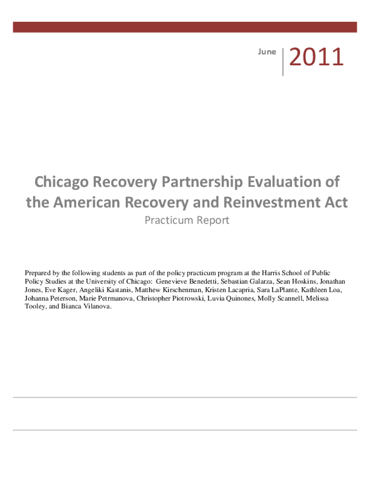 Chicago Recovery Partnership Evaluation of the American Recovery and Reinvestment Act