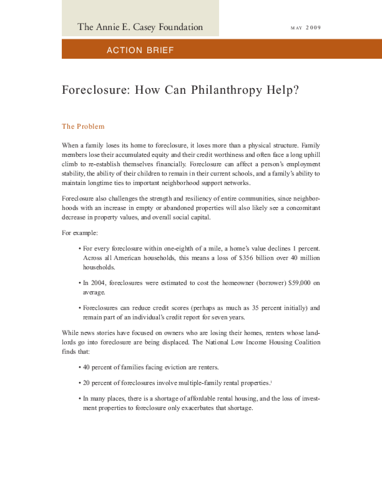 Foreclosure: How Can Philanthropy Help?