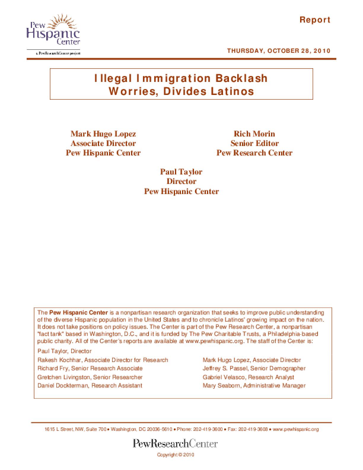 Illegal Immigration Backlash Worries, Divides Latinos