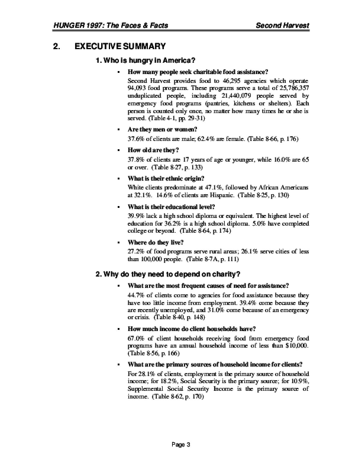 Hunger Study 1997
