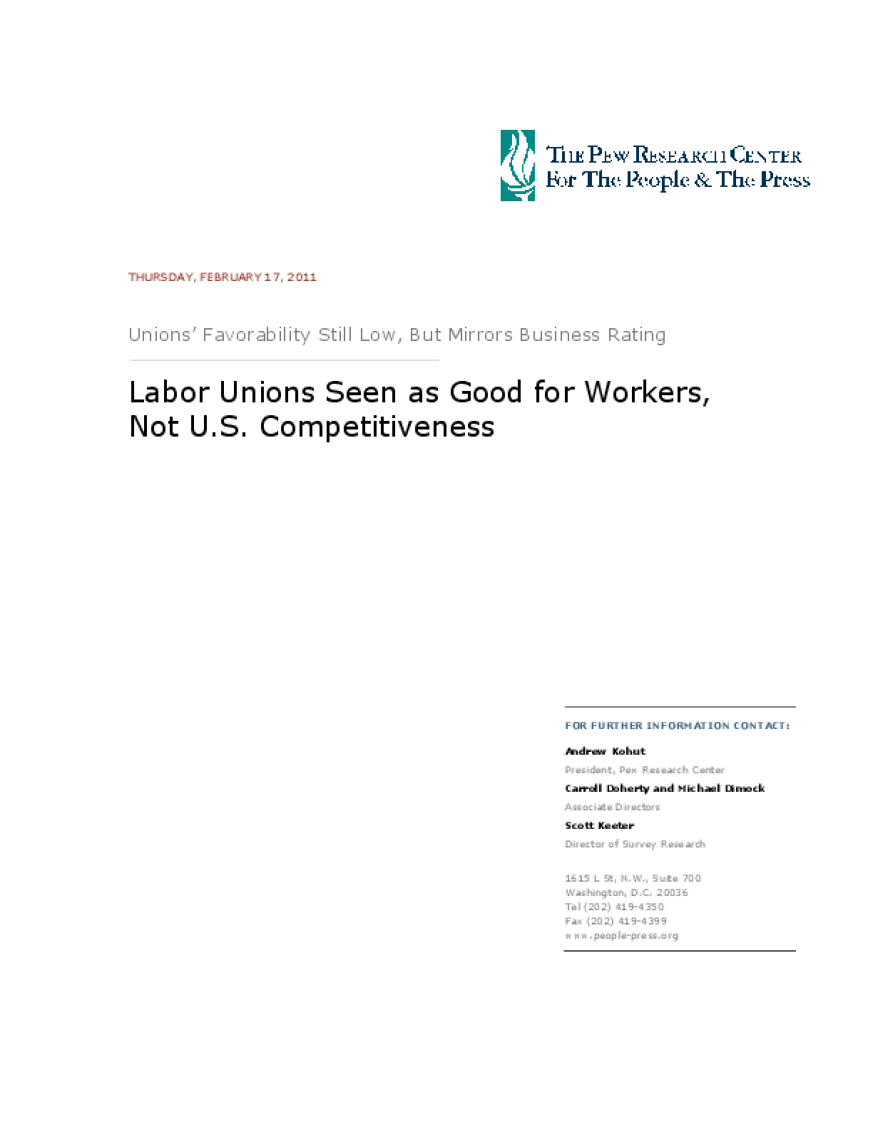 Labor Unions Seen as Good for Workers, Not U.S. Competitiveness
