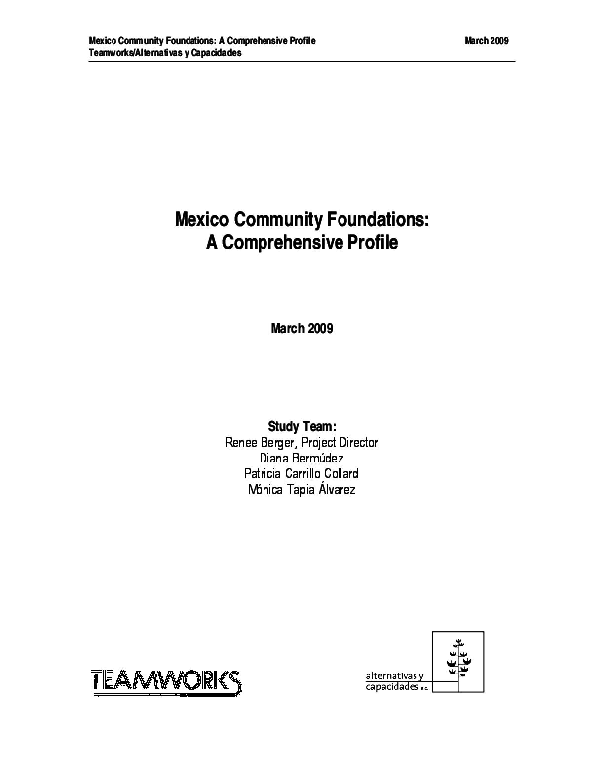 Mexico Community Foundations: A Comprehensive Profile