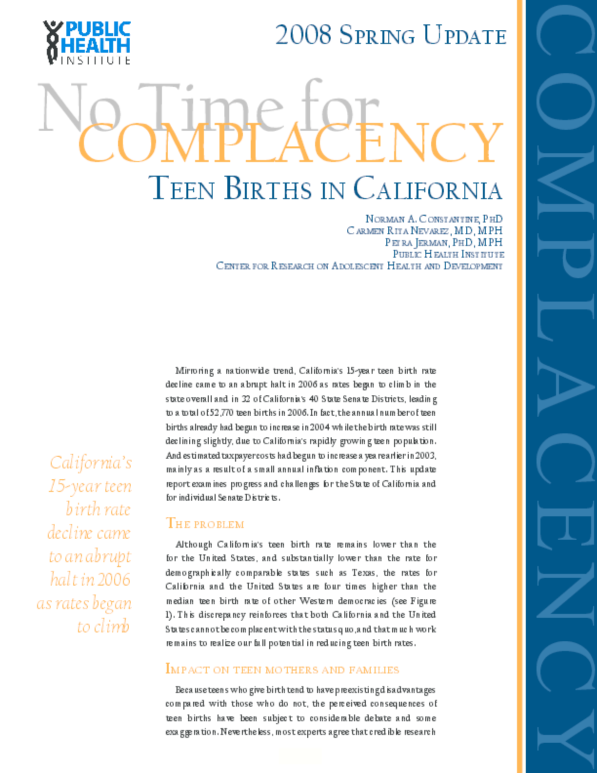 No Time for Complacency: Teen Births in California