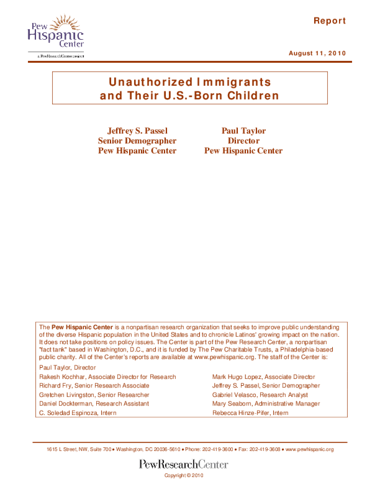 Unauthorized Immigrants and Their U.S.-Born Children