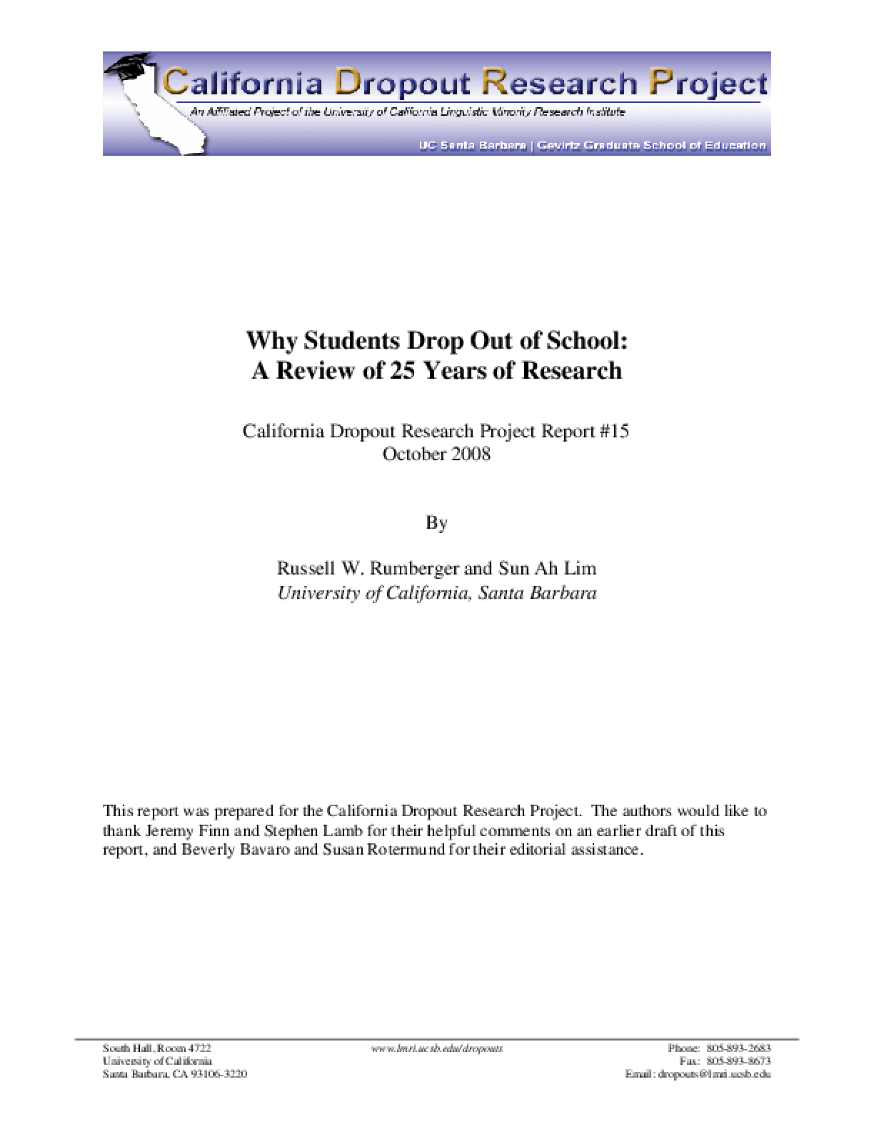 Why Students Drop Out of School: A Review of 25 Years of Research