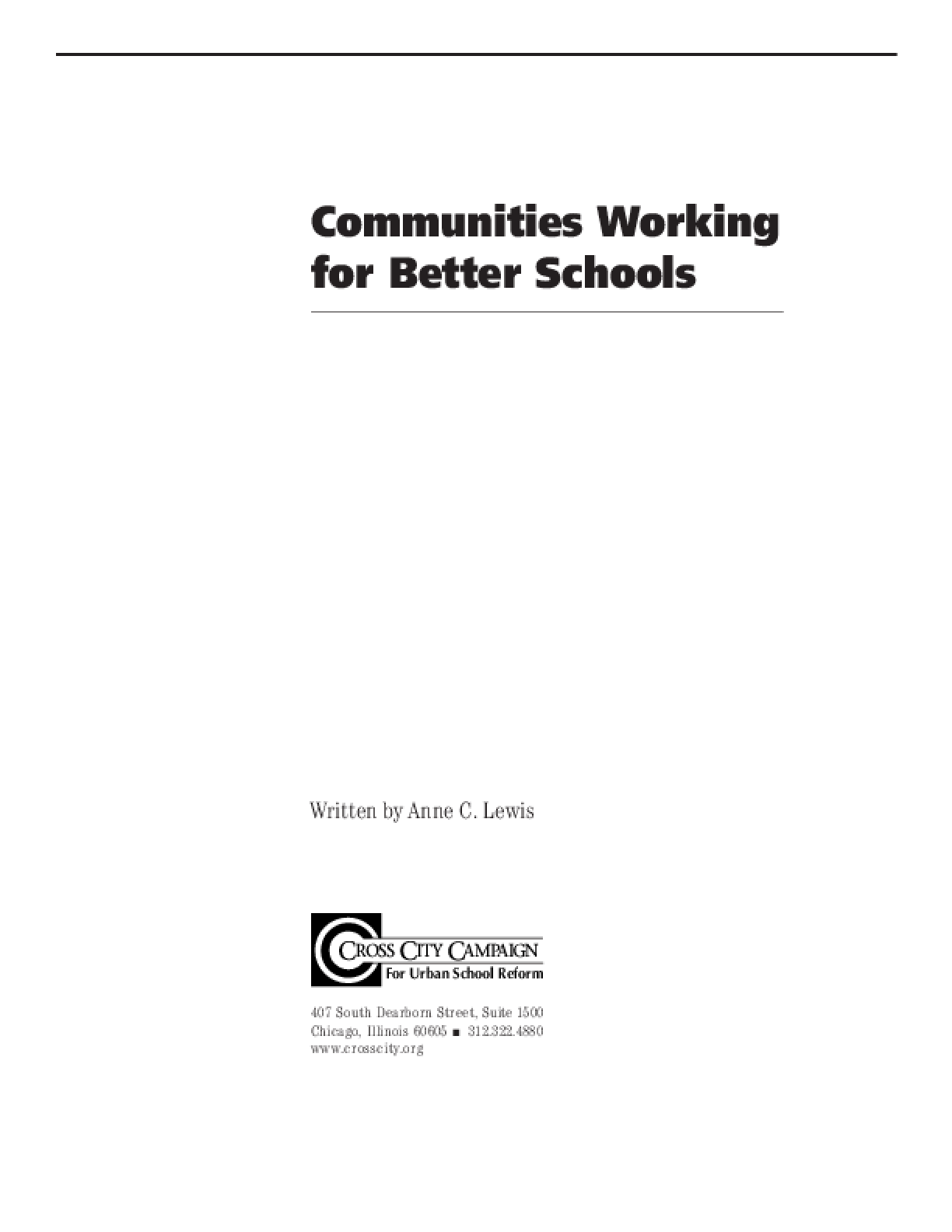 Communities Working for Better Schools