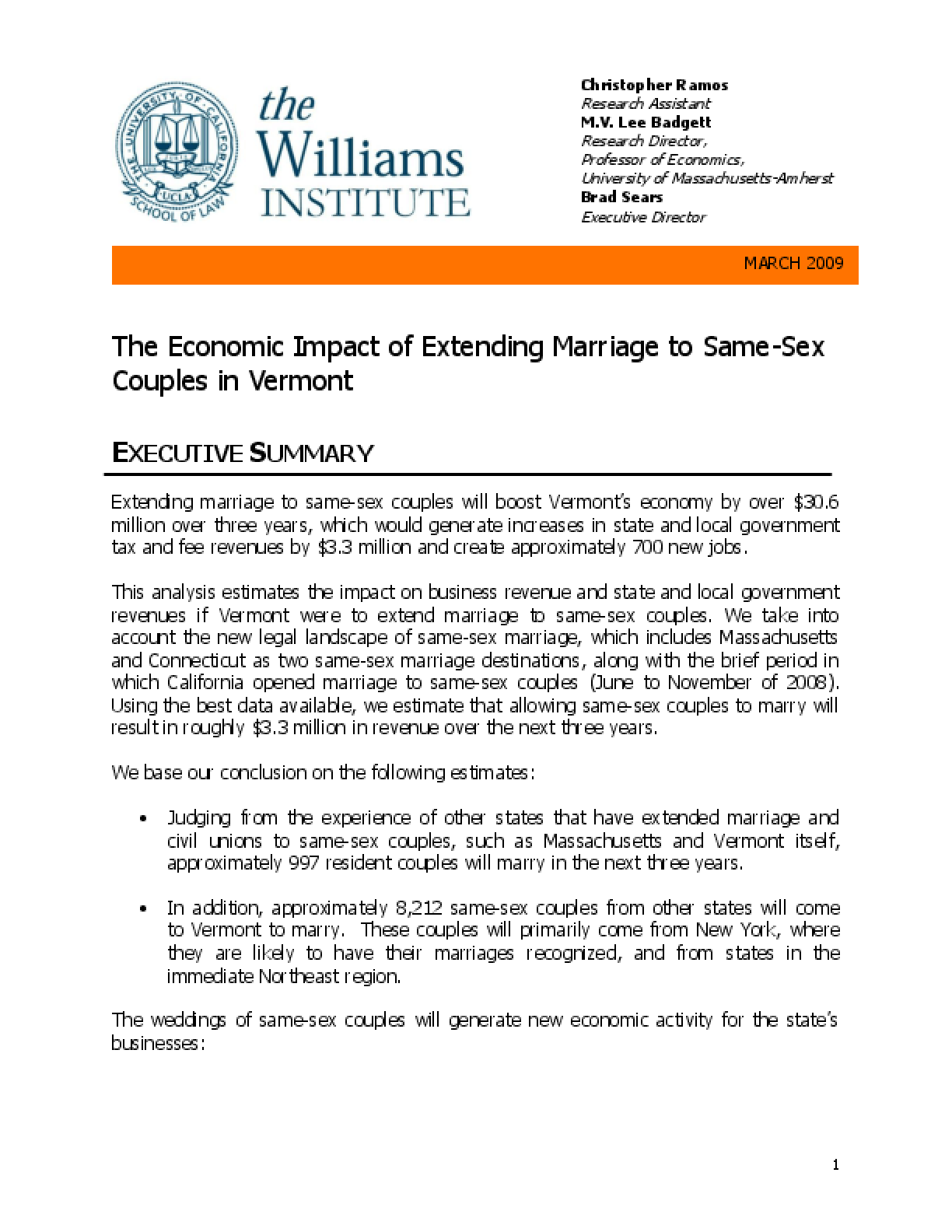 The Economic Impact of Extending Marriage to Same-Sex Couples in Vermont