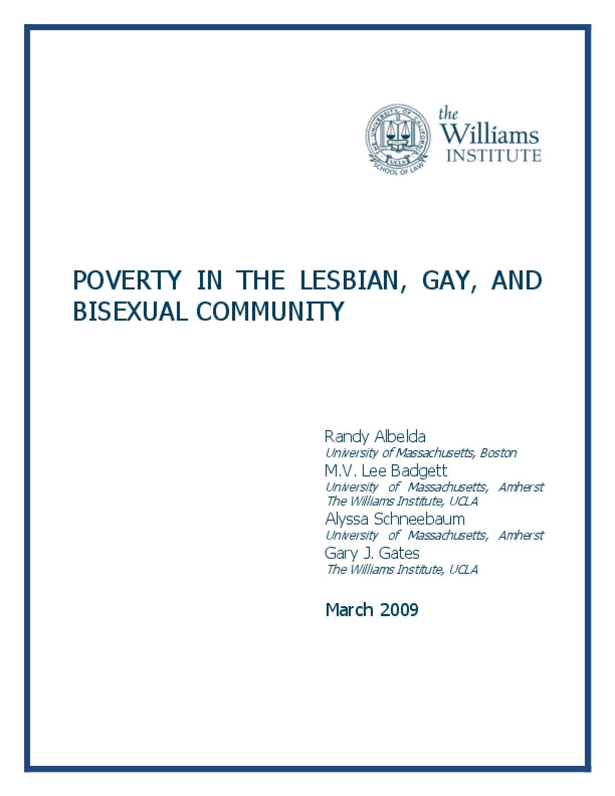 Poverty in the Lesbian, Gay, and Bisexual Community