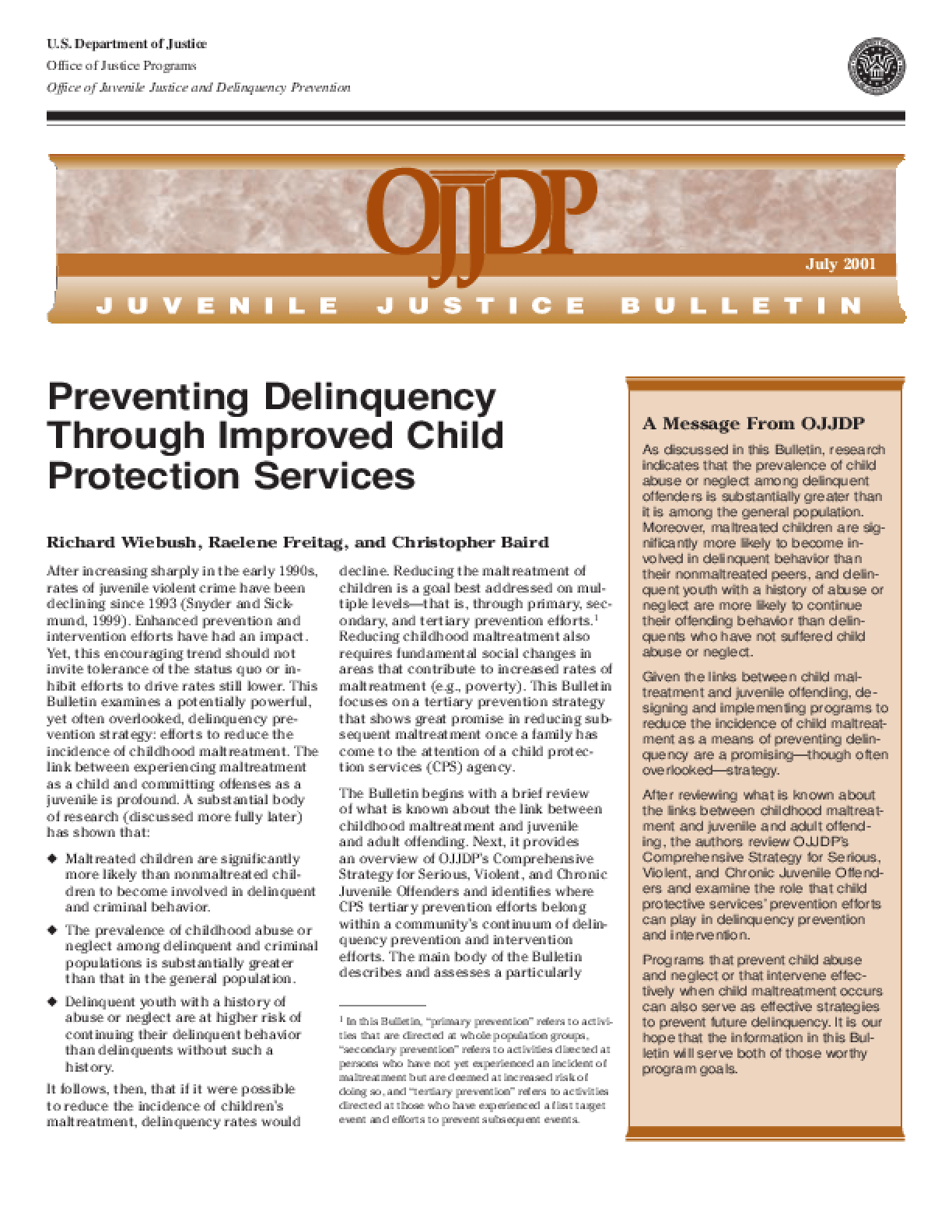 Preventing Delinquency Through Improved Child Protection Services