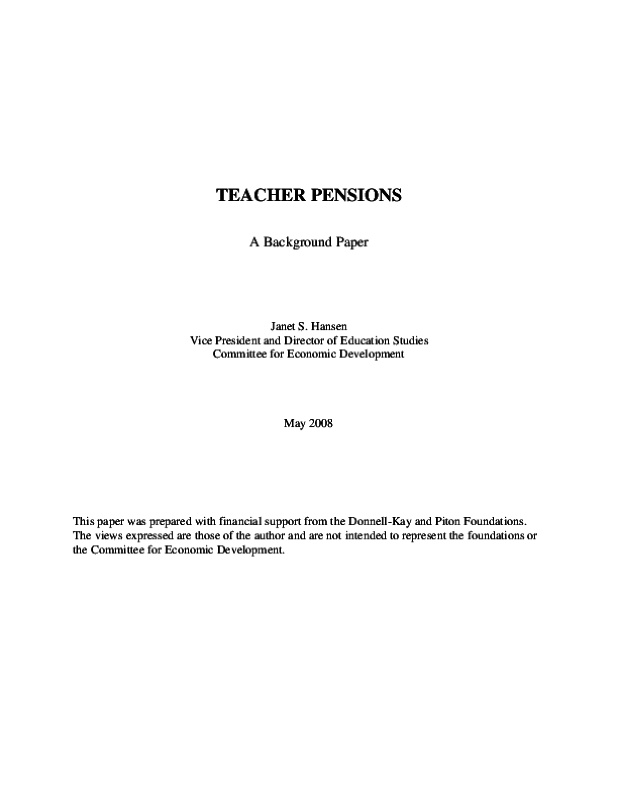 Teacher Pensions: A Background Paper