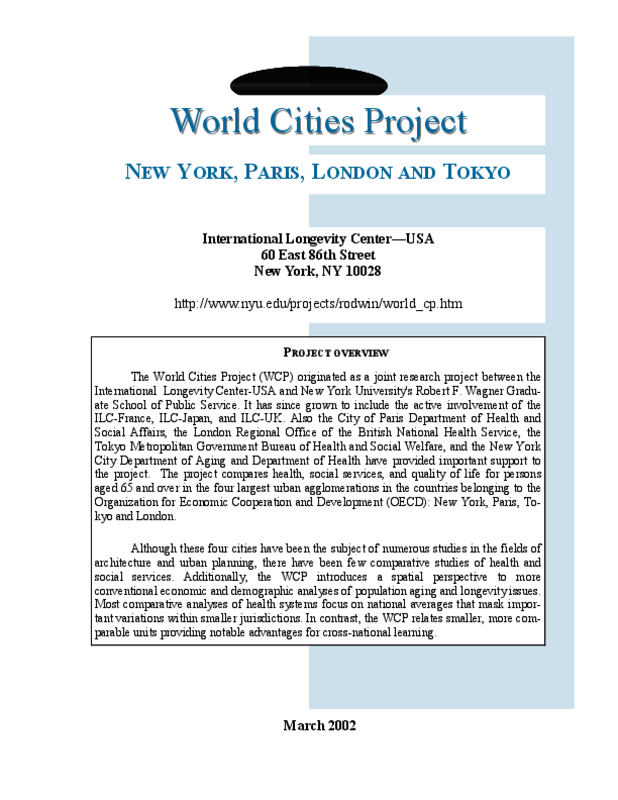 World Cities Project: New York, Paris, London, Tokyo Fact Sheet