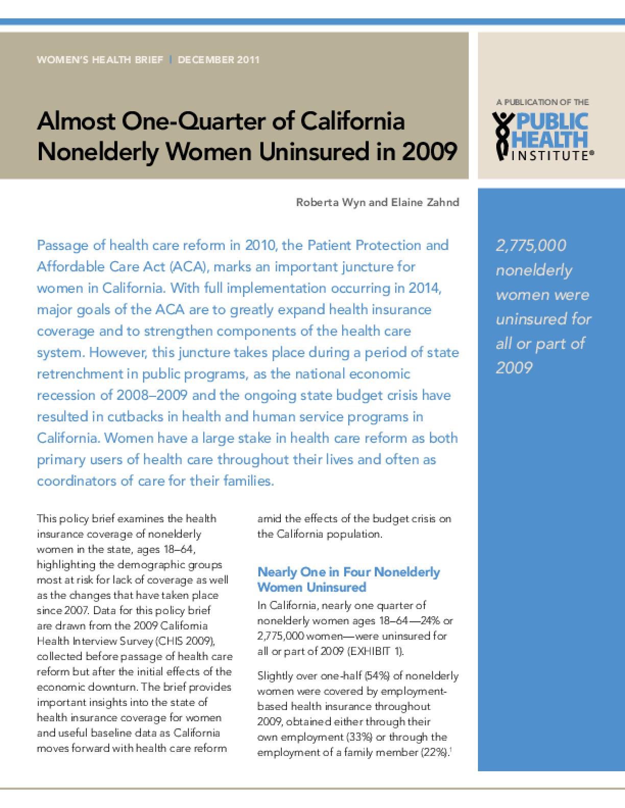 Almost One-Quarter of California Nonelderly Women Uninsured in 2009