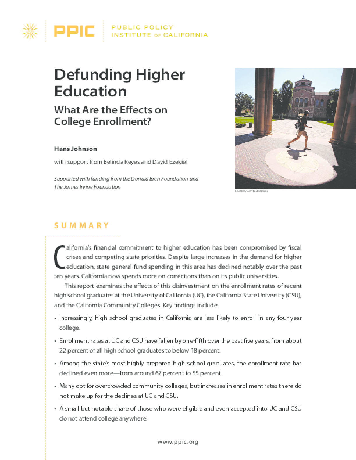 Defunding Higher Education: What Are the Effects on College Enrollment?