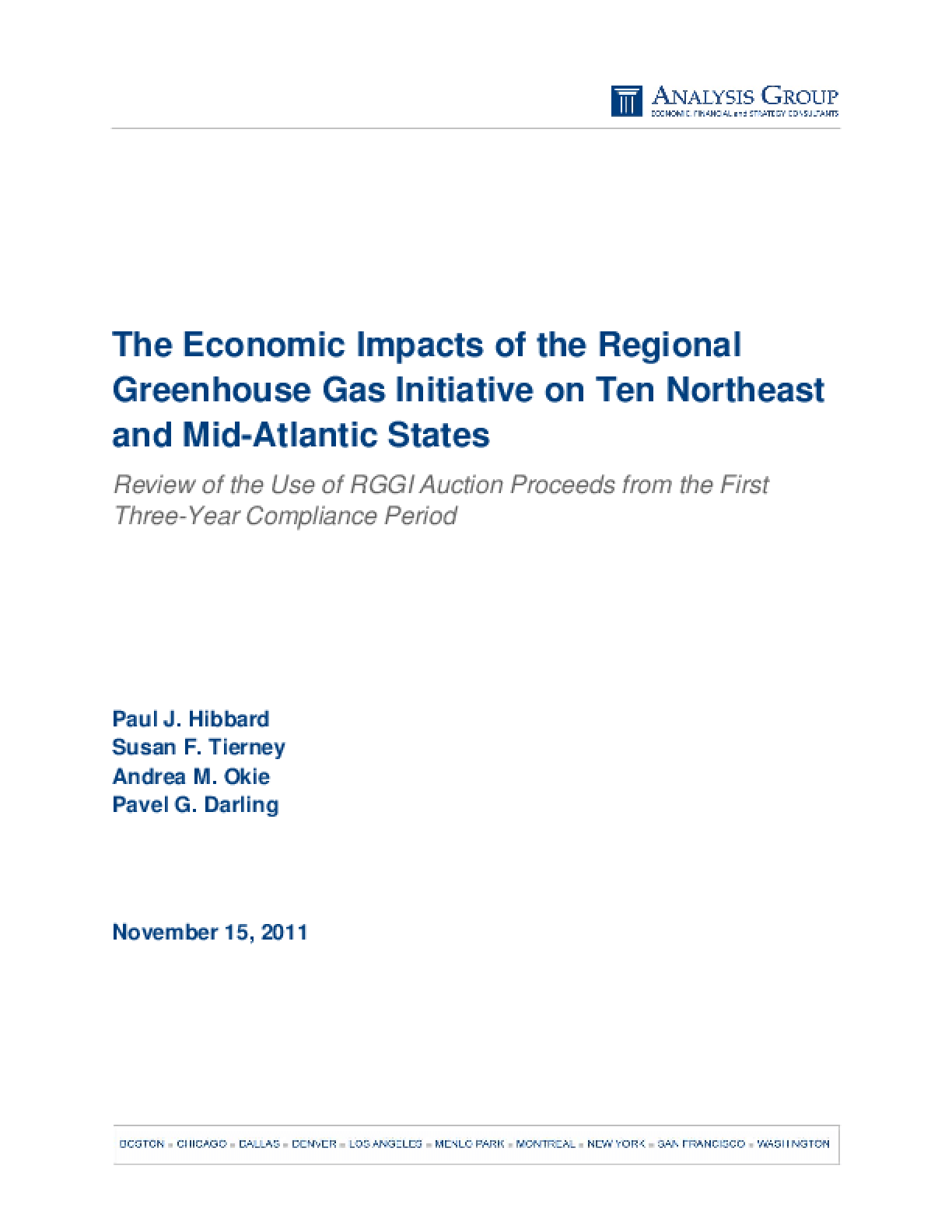 The Economic Impacts of the Regional Greenhouse Gas Initiative on Ten Northeast and Mid-Atlantic States