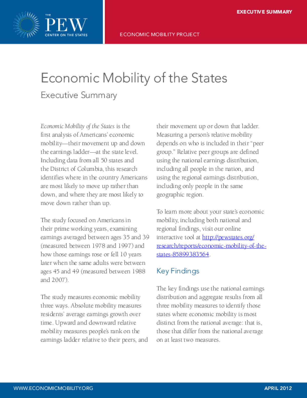 Economic Mobility of the States: Executive Summary