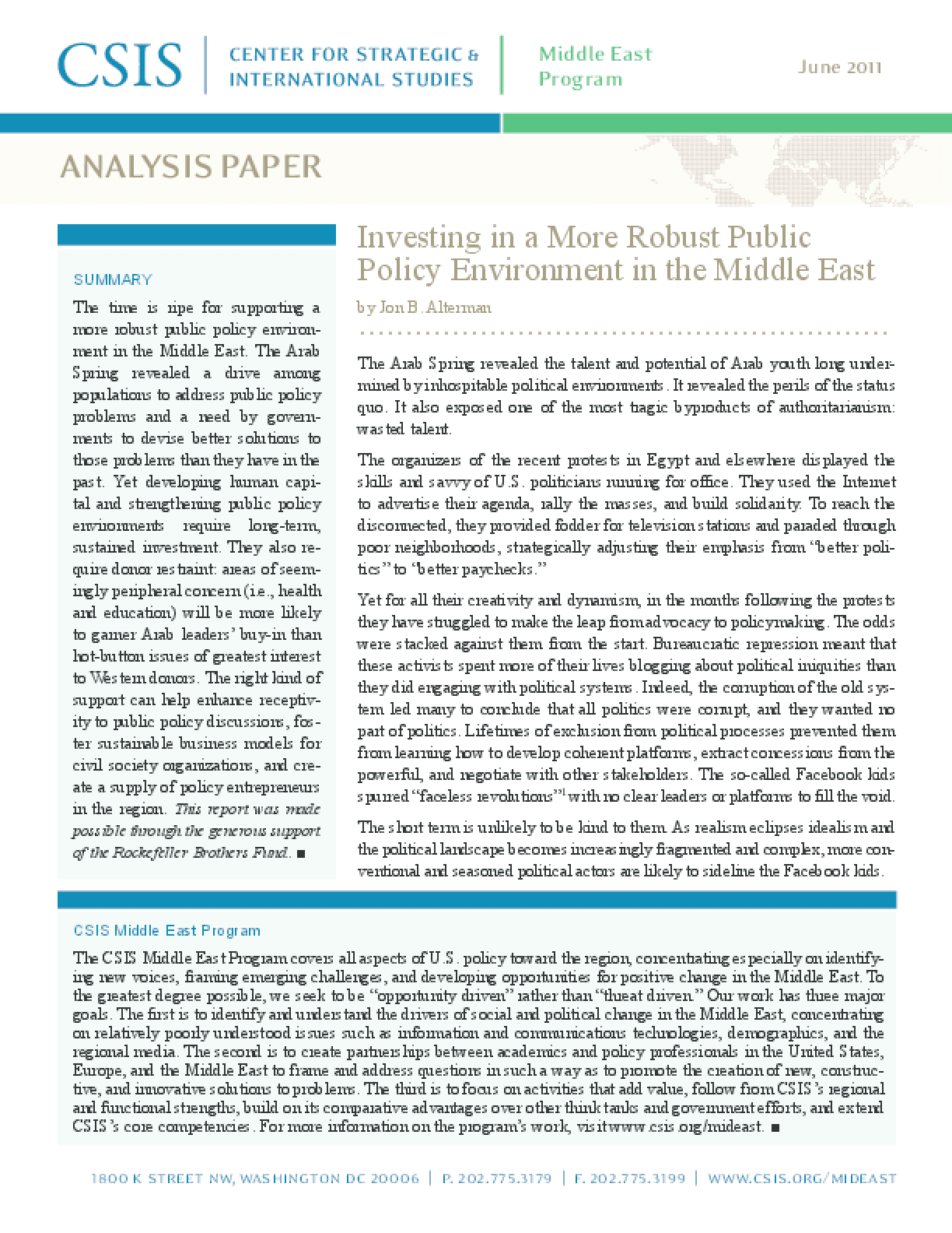 Investing in a More Robust Public Policy Environment in the Middle East