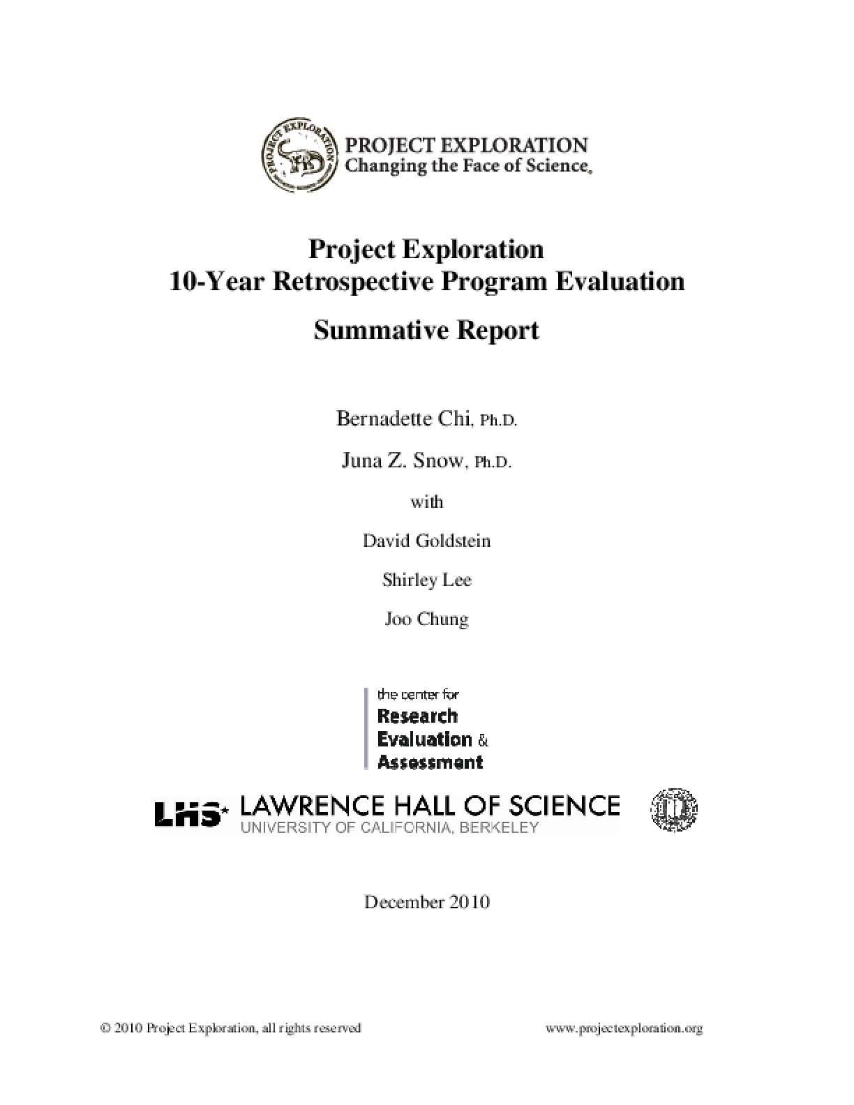 Project Exploration: 10-year Retrospective Program Evaluation