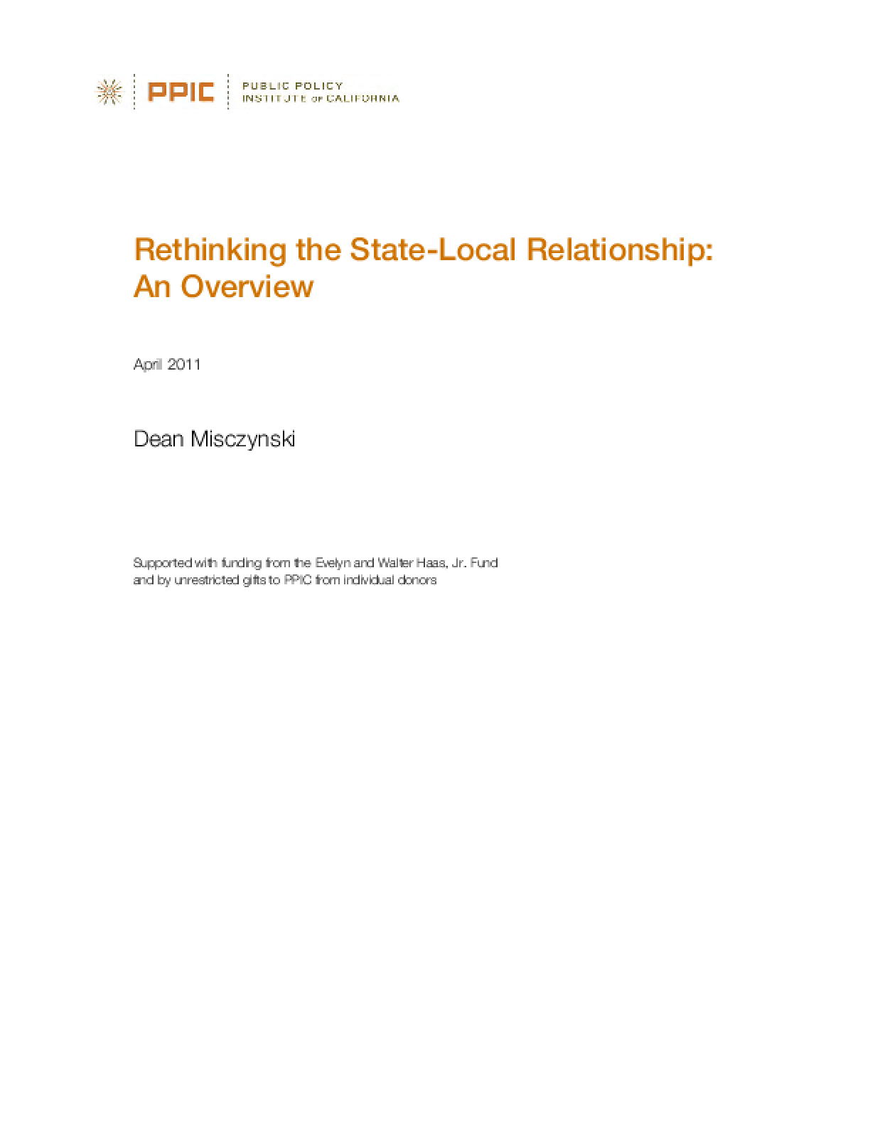 Rethinking the State-Local Relationship: An Overview