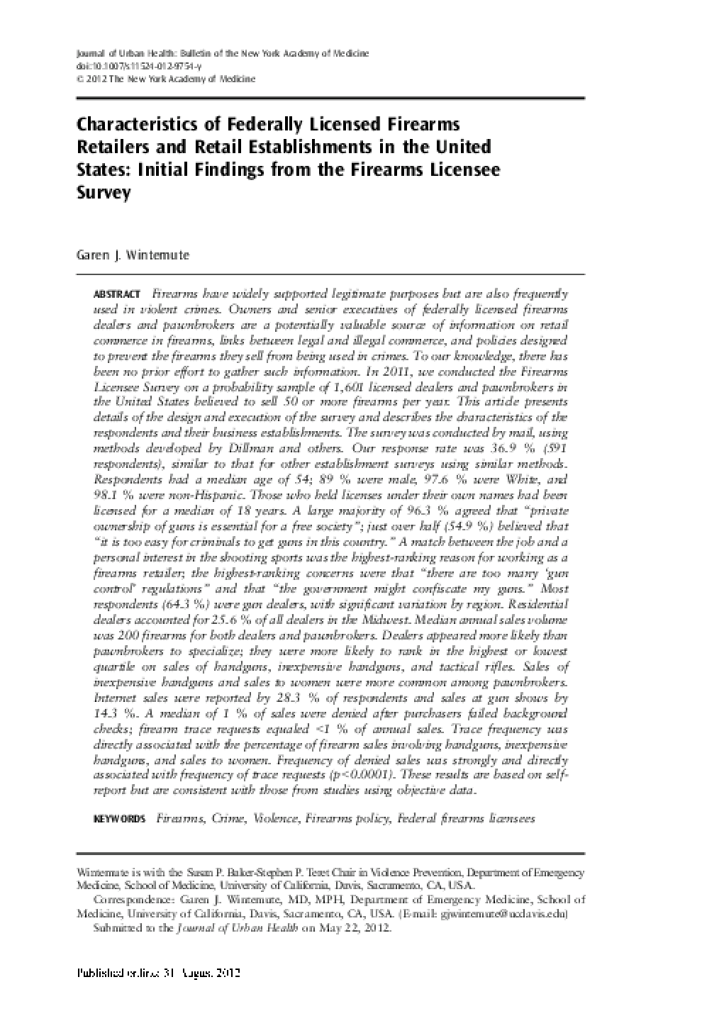 Characteristics of Federally Licensed Firearms Retailers and Retail Establishments in the United States: Initial Findings from the Firearms Licensee Survey