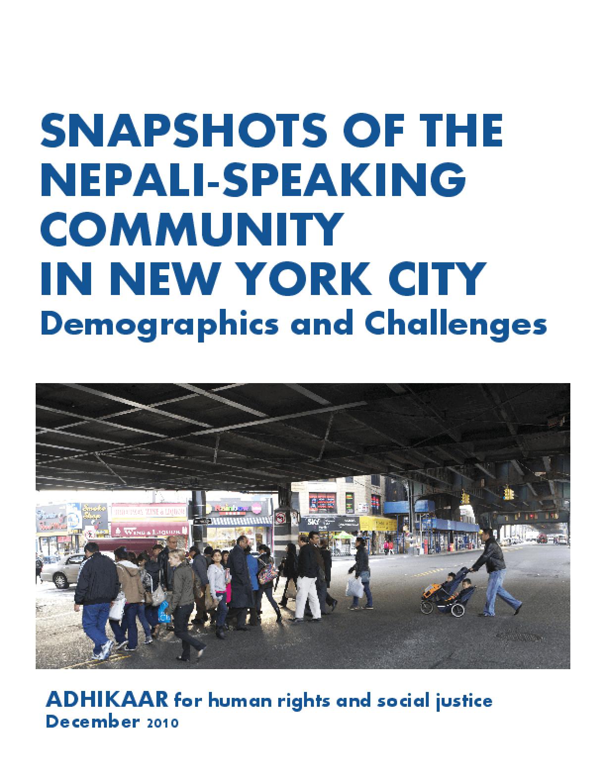 Snapshots of the Nepali-Speaking Community in New York City