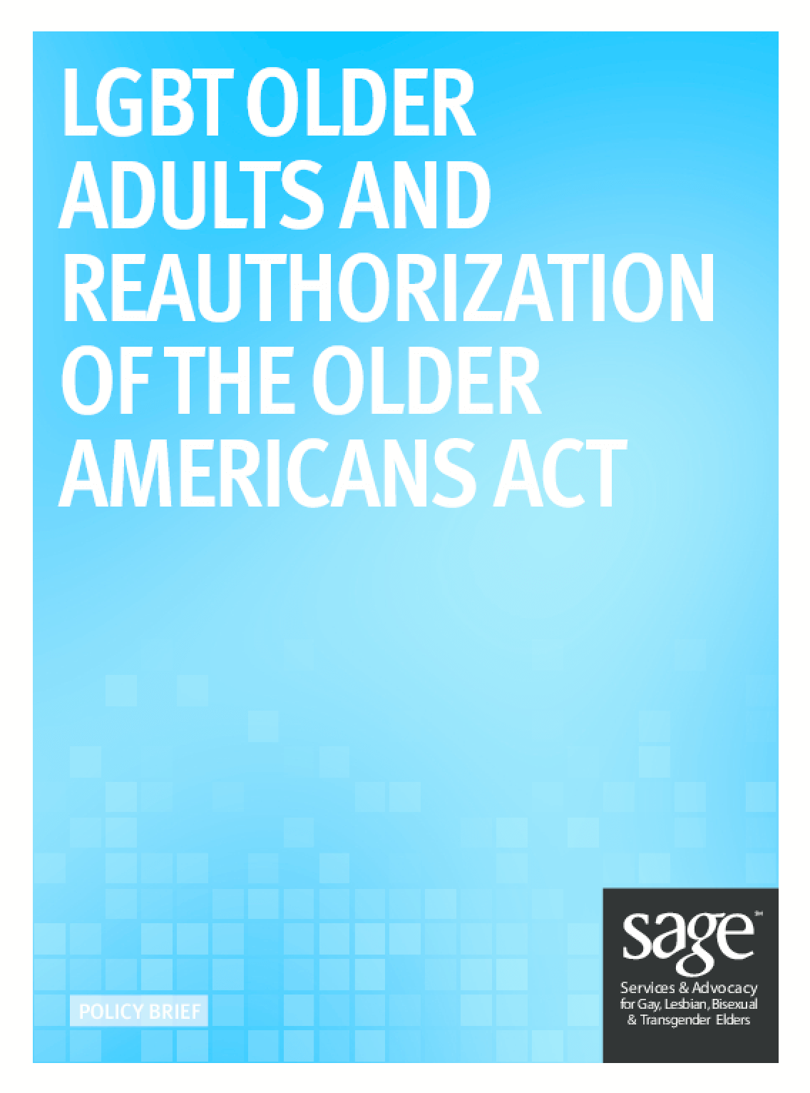 LGBT Older Adults and Reauthorization of Older Americans Act