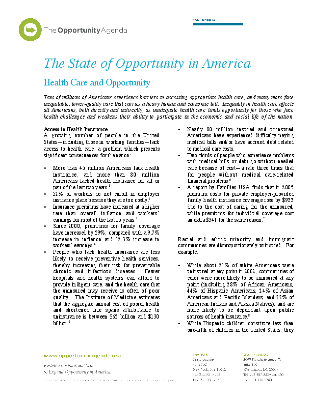 Health Care and Opportunity