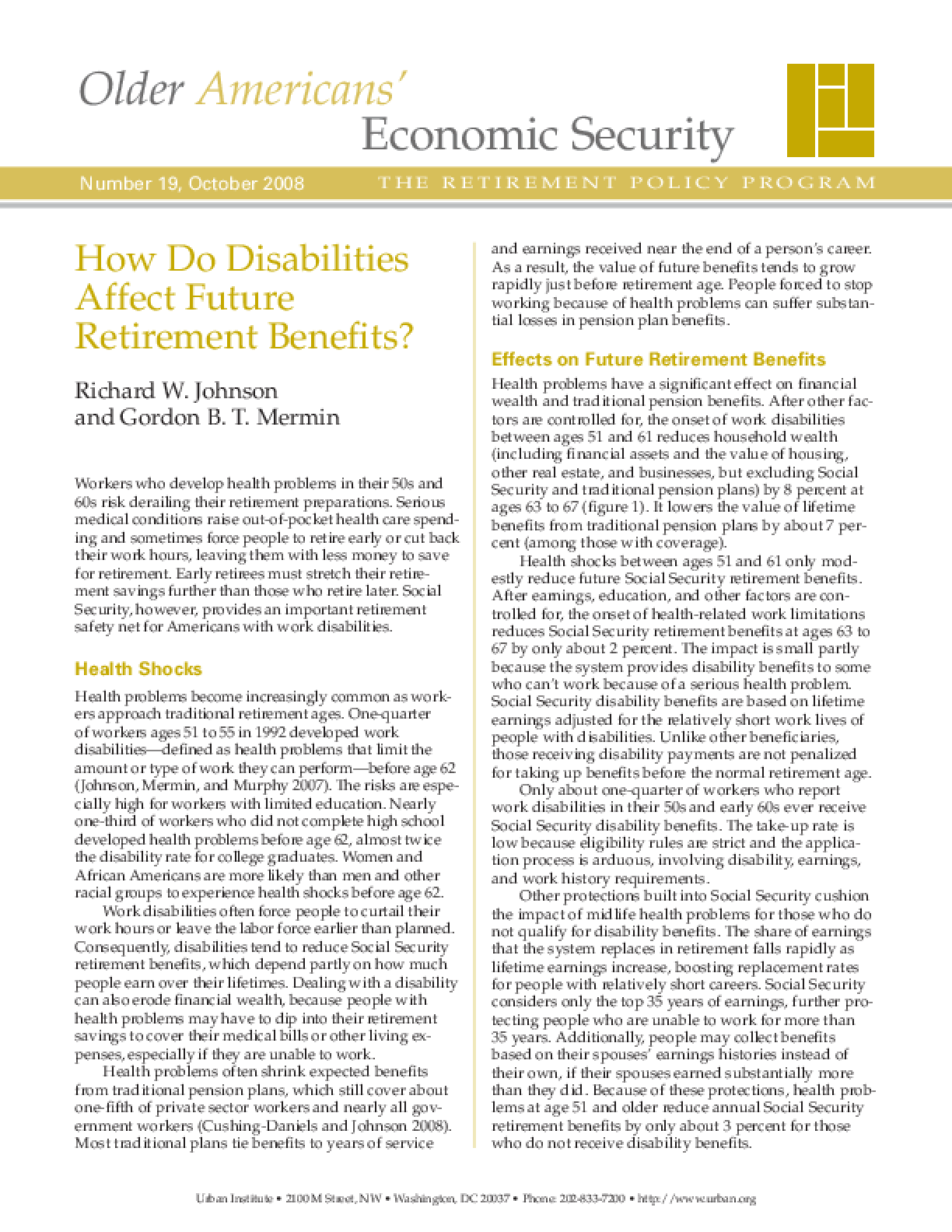 How Do Disabilities Affect Future Retirement Benefits?
