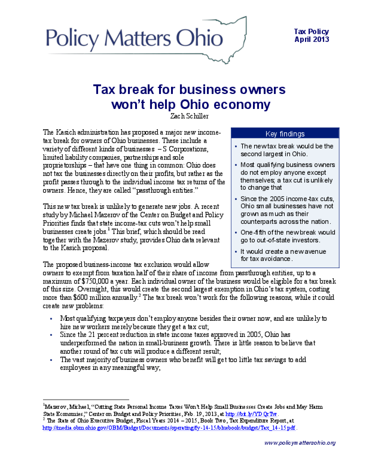 Tax Break for Business Owners Won't Help Ohio Economy