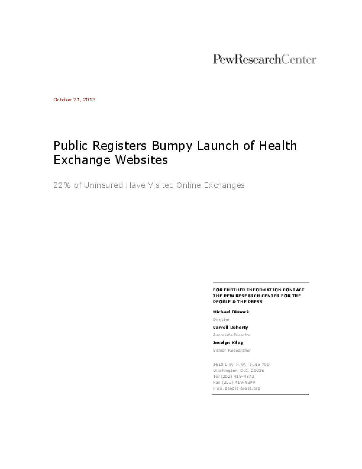 Public Registers Bumpy Launch of Health Exchange Websites