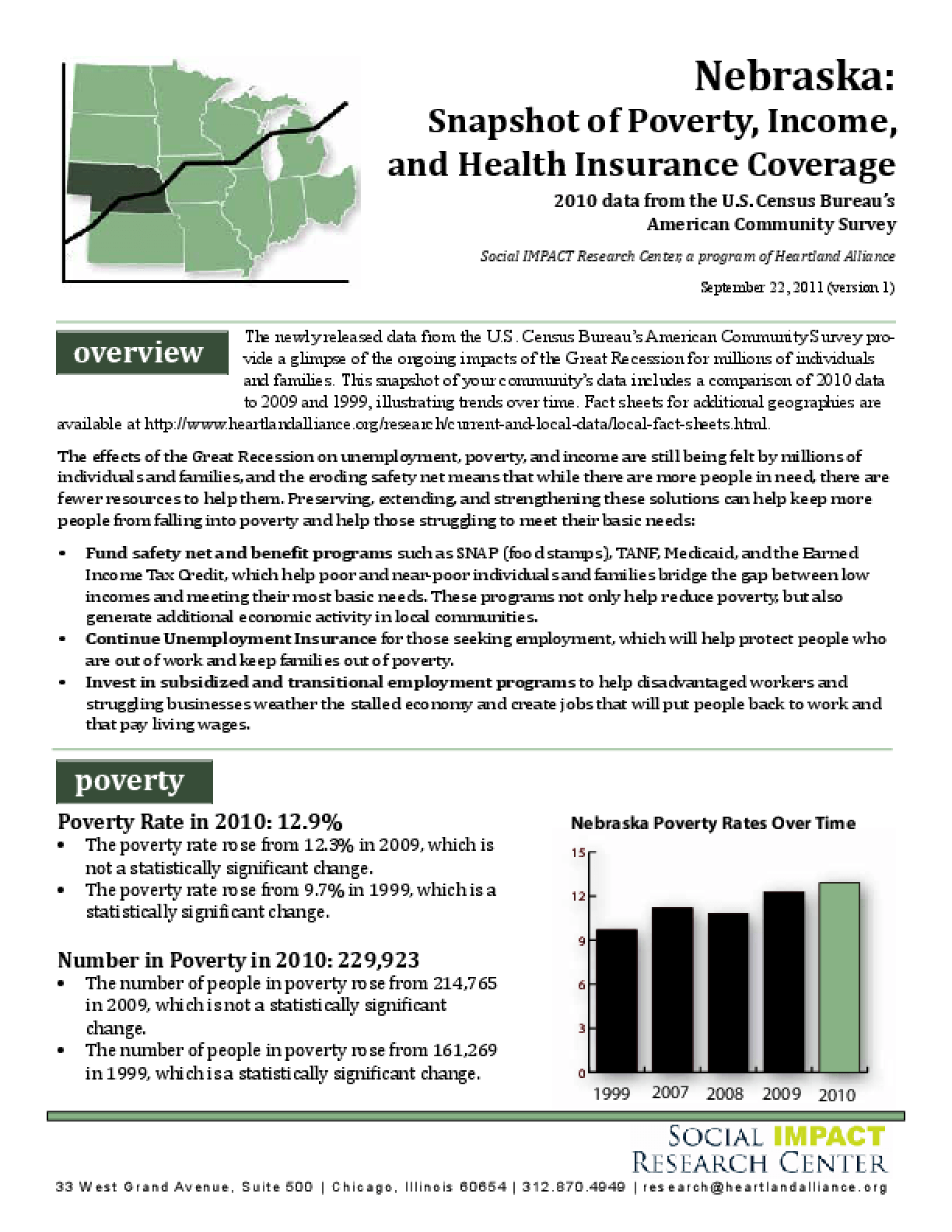 Nebraska: Snapshot of Poverty, Income, and Health Insurance Coverage
