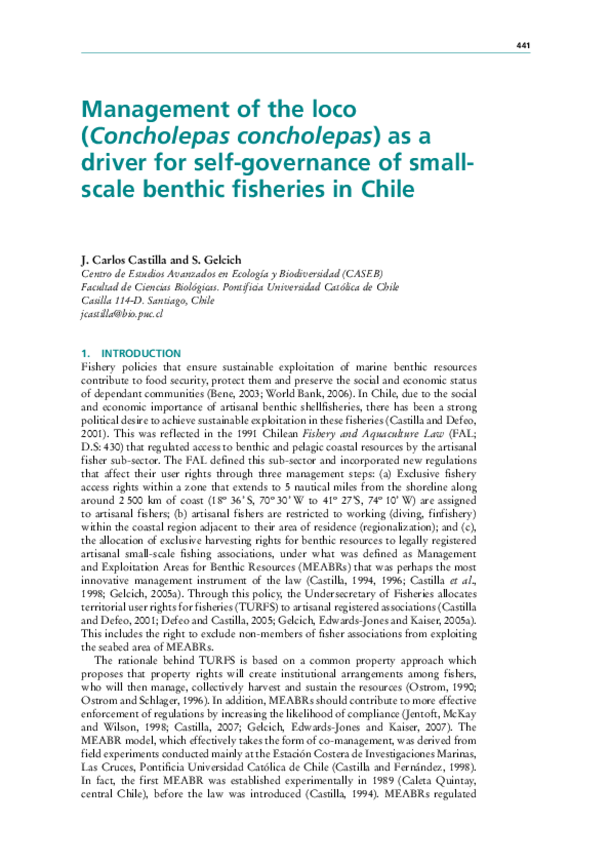 Management of the Loco (Concholepas concholepas) as a Driver for Self-governance of Small-scale Benthic Fisheries in Chile