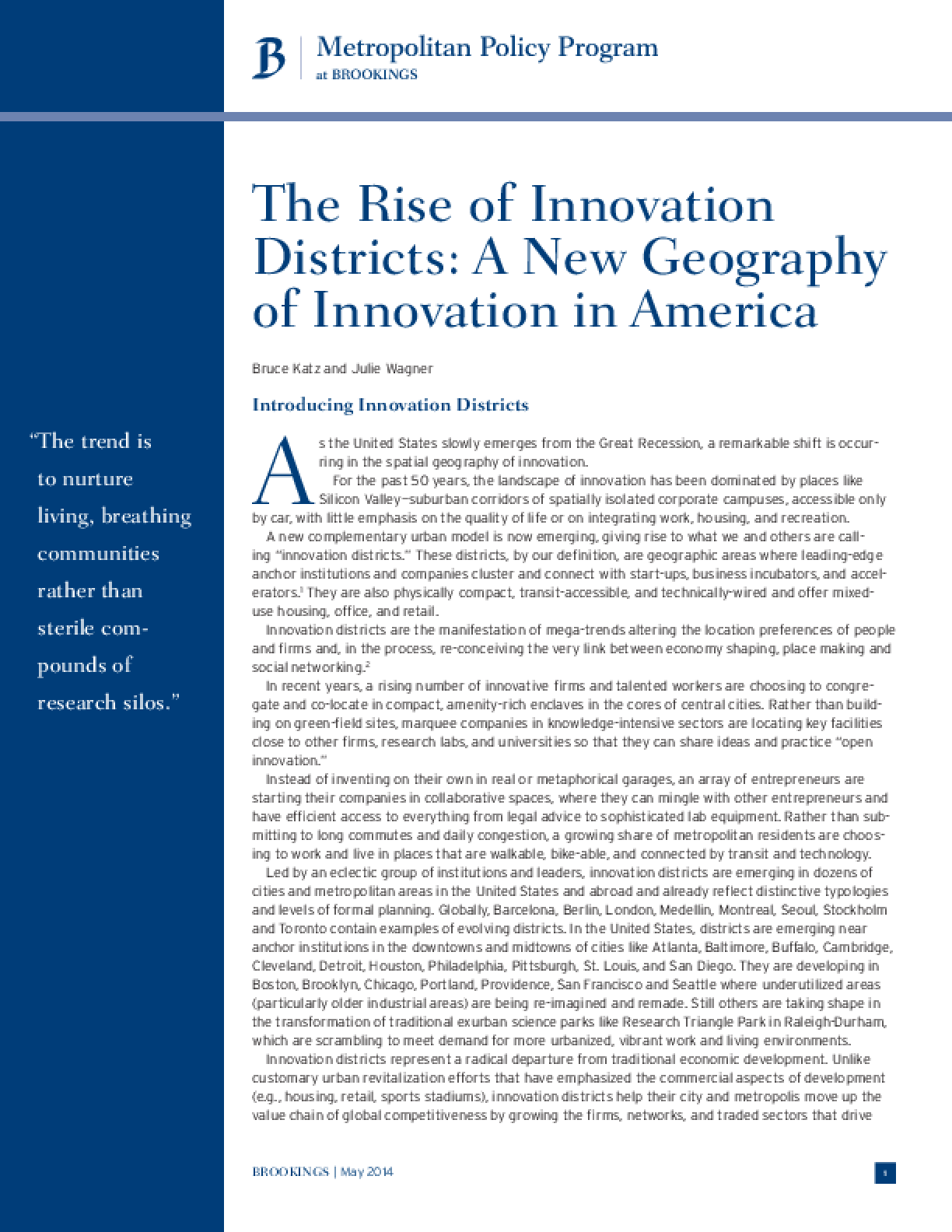 The Rise of Innovation Districts: A New Geography of Innovation in America