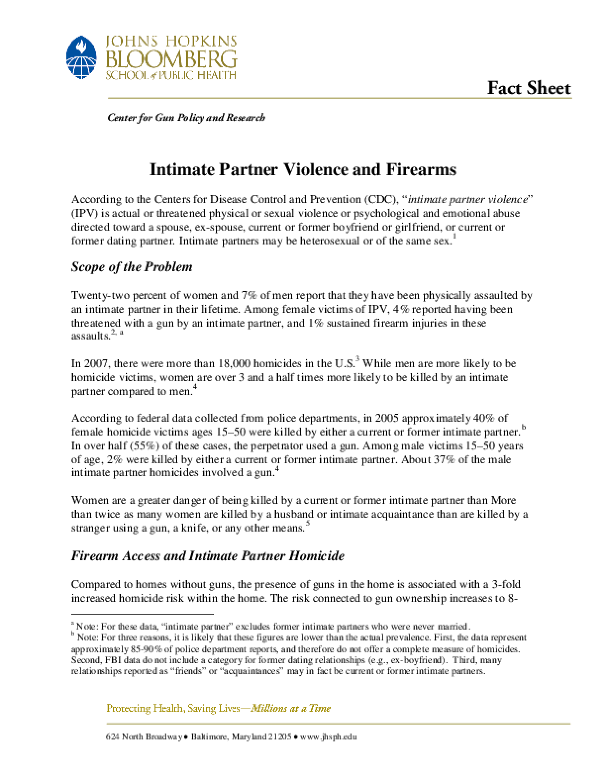 Intimate Partner Violence and Firearms