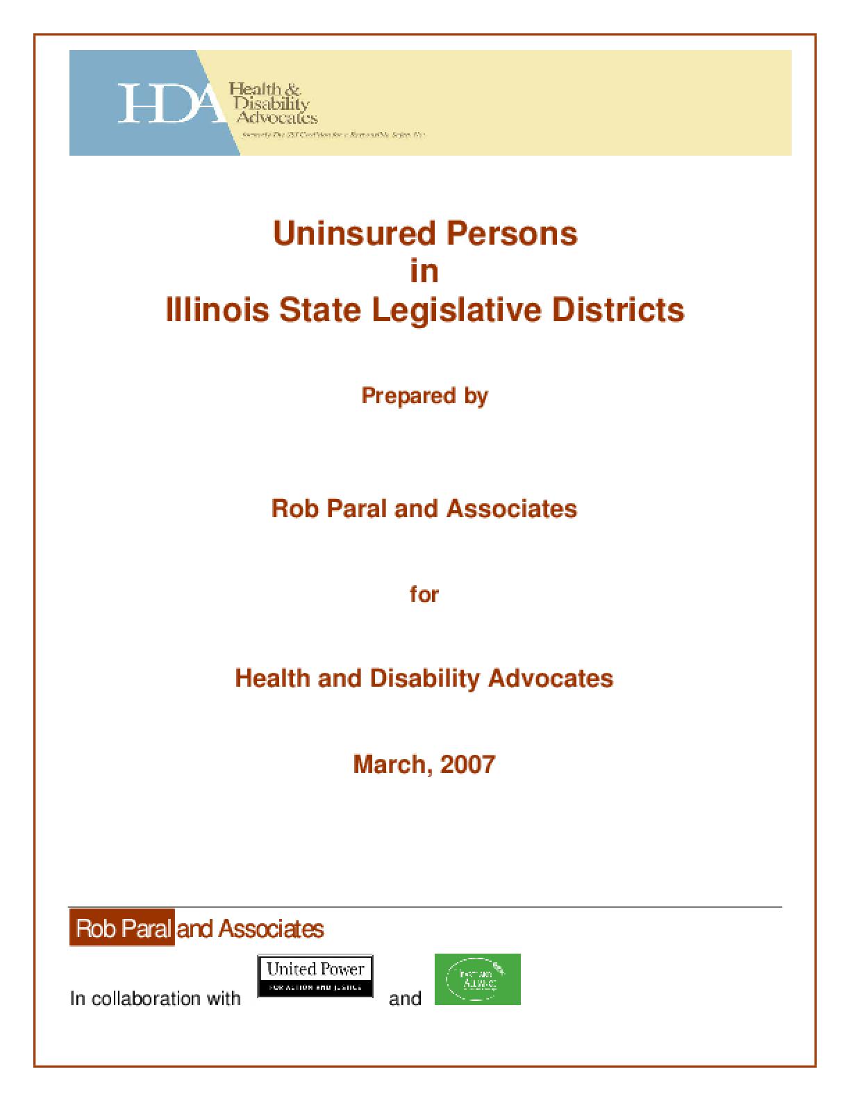Uninsured Persons in Illinois Legislative Districts
