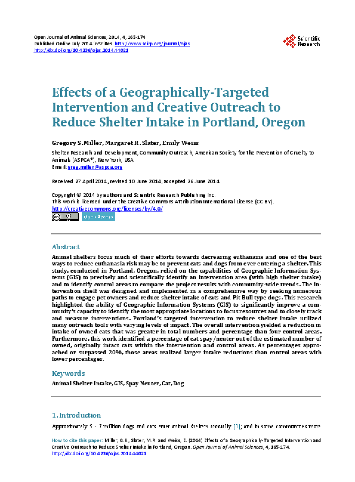 Effects of a Geographically-Targeted Intervention and Creative Outreach to Reduce Shelter Intake in Portland, Oregon