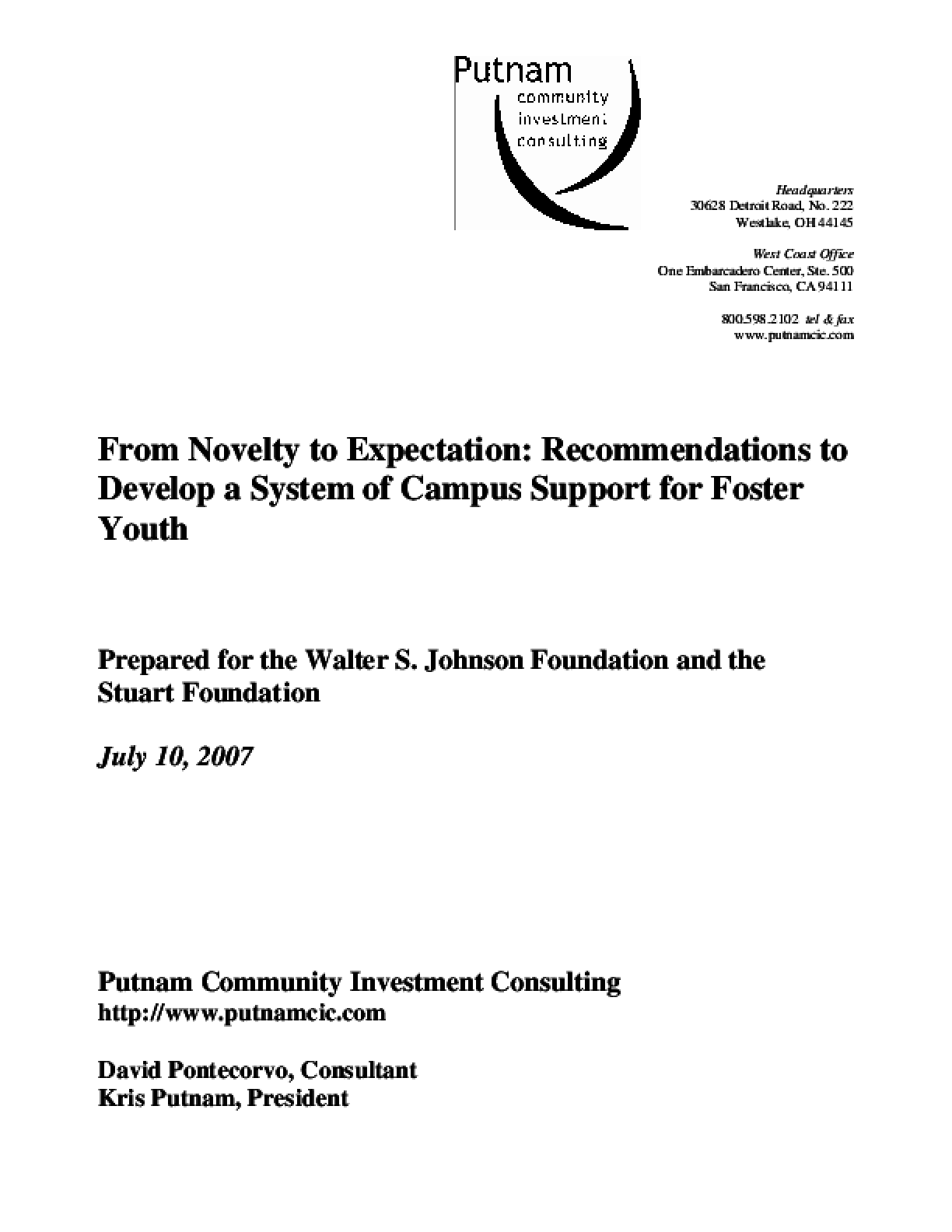 From Novelty to Expectation: Recommendations to Develop a System of Campus Support for Foster Youth