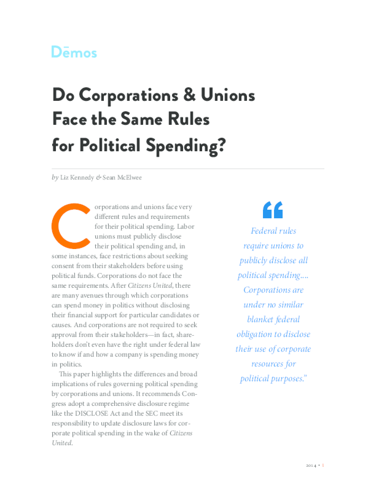 Do Corporations & Unions Face the Same Rules for Political Spending?