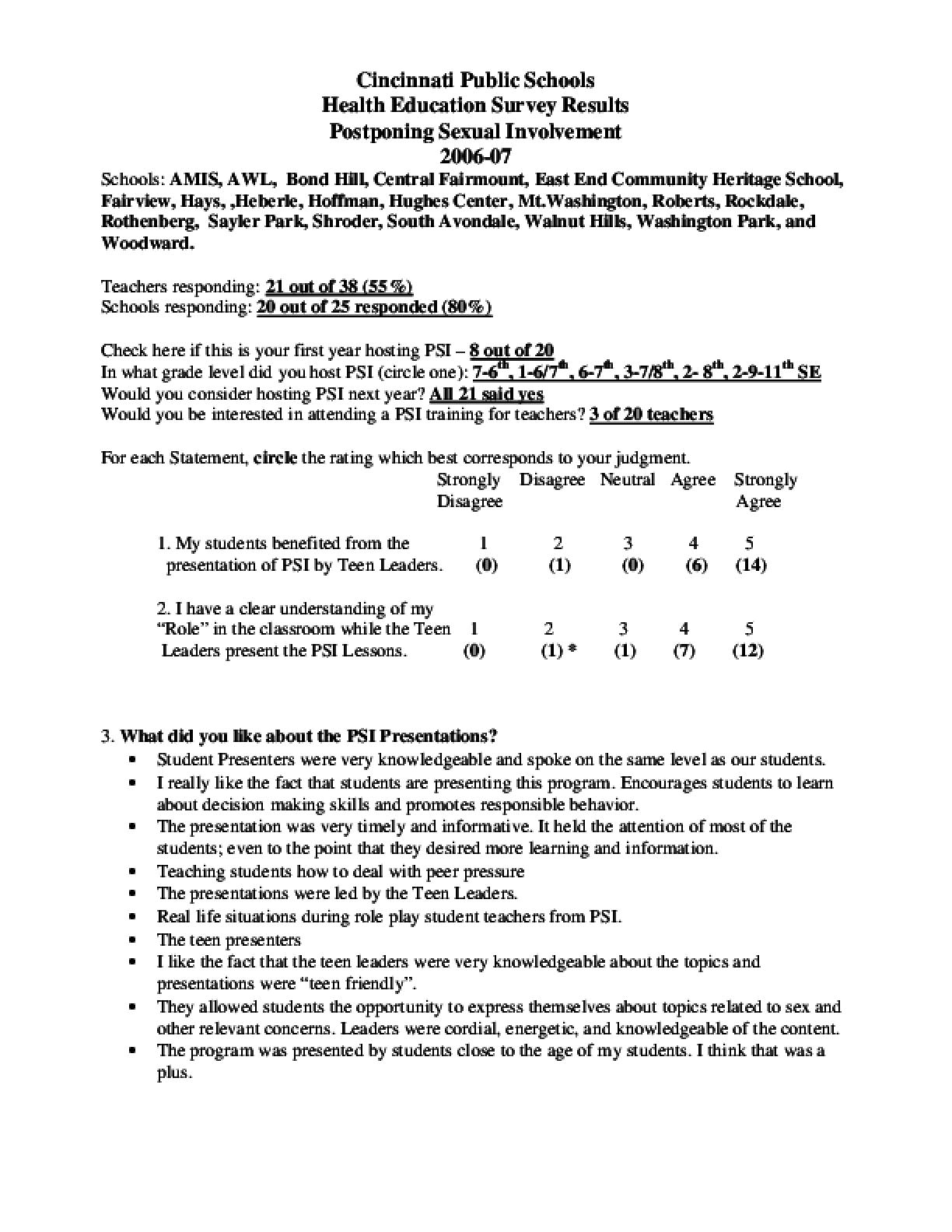 Postponing Sexual Involvement Teacher Survey Results 2006-07