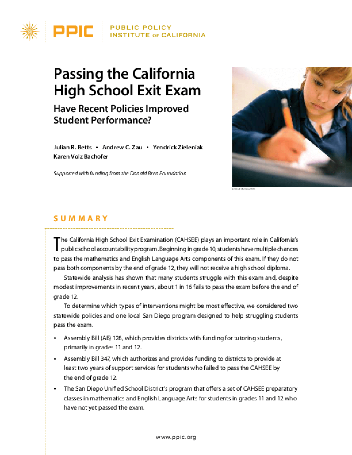 Passing the California High School Exit Exam: Have Recent Policies Improved Student Performance?
