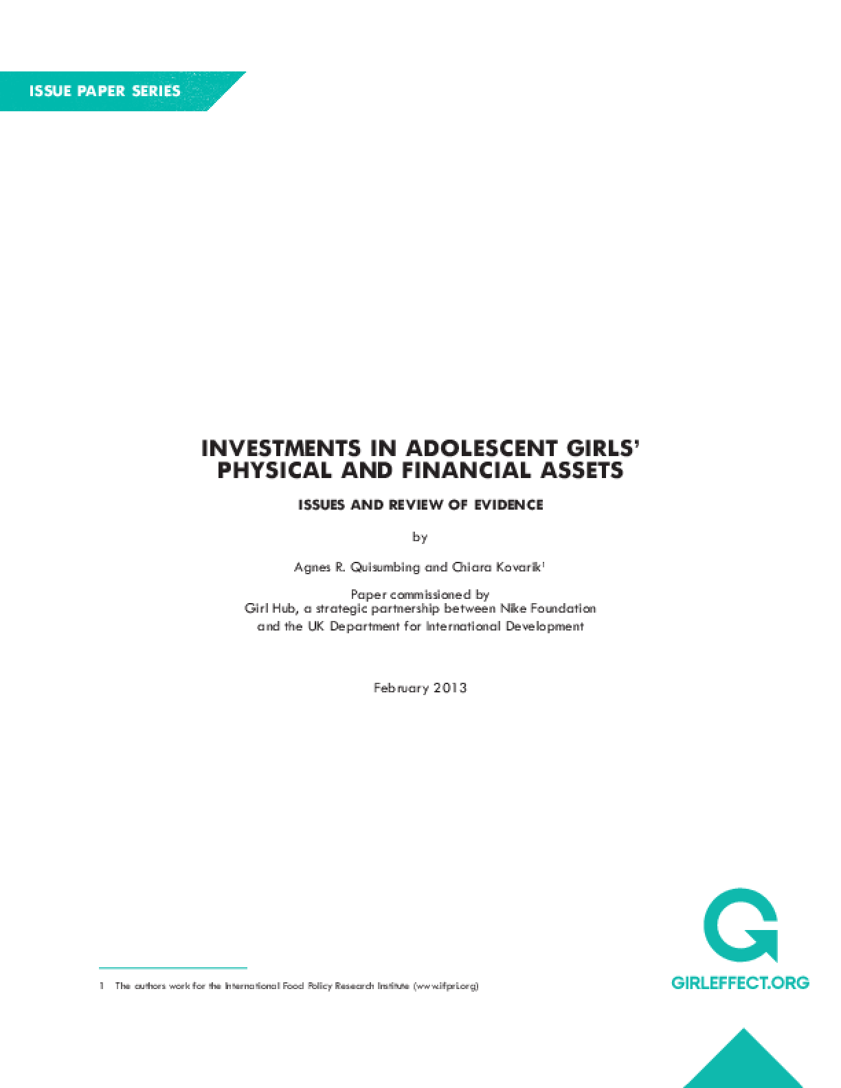 Investments in Adolescent Girl's Physical and Financial Assets: Issues and Review of Evidence