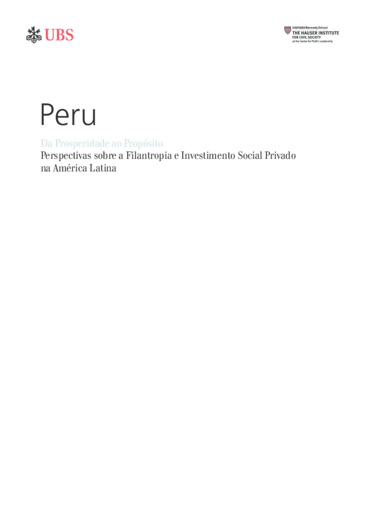 Da Prosperidade ao Propósito: Perspectivas sobre a Filantropia e Investimento Social Privado na América Latina - Peru