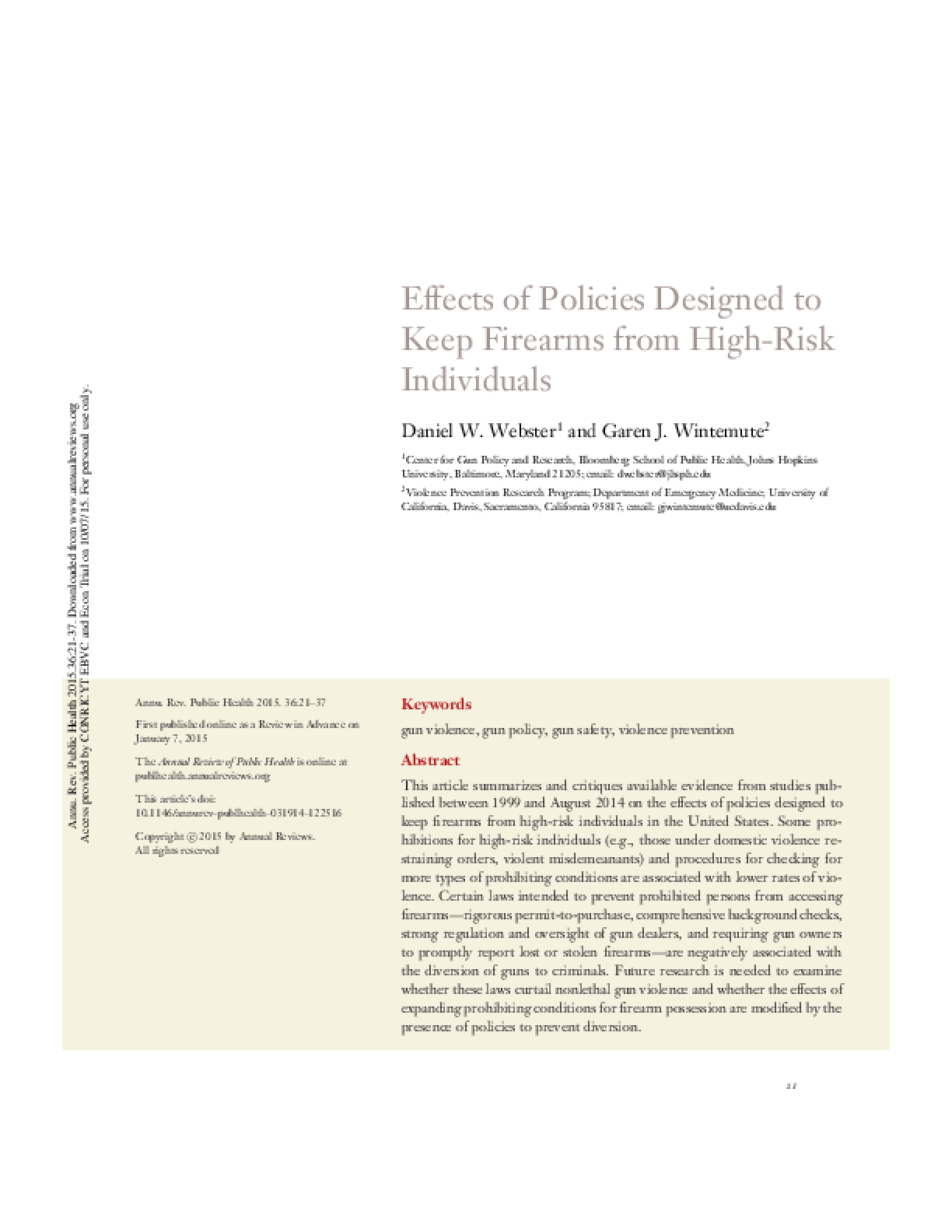 Effects of Policies Designed to Keep Firearms from High-Risk Individuals