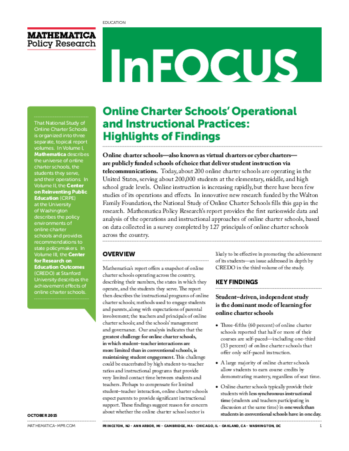 Online Charter Schools' Operational and Instructional Practices: Highlights of Findings