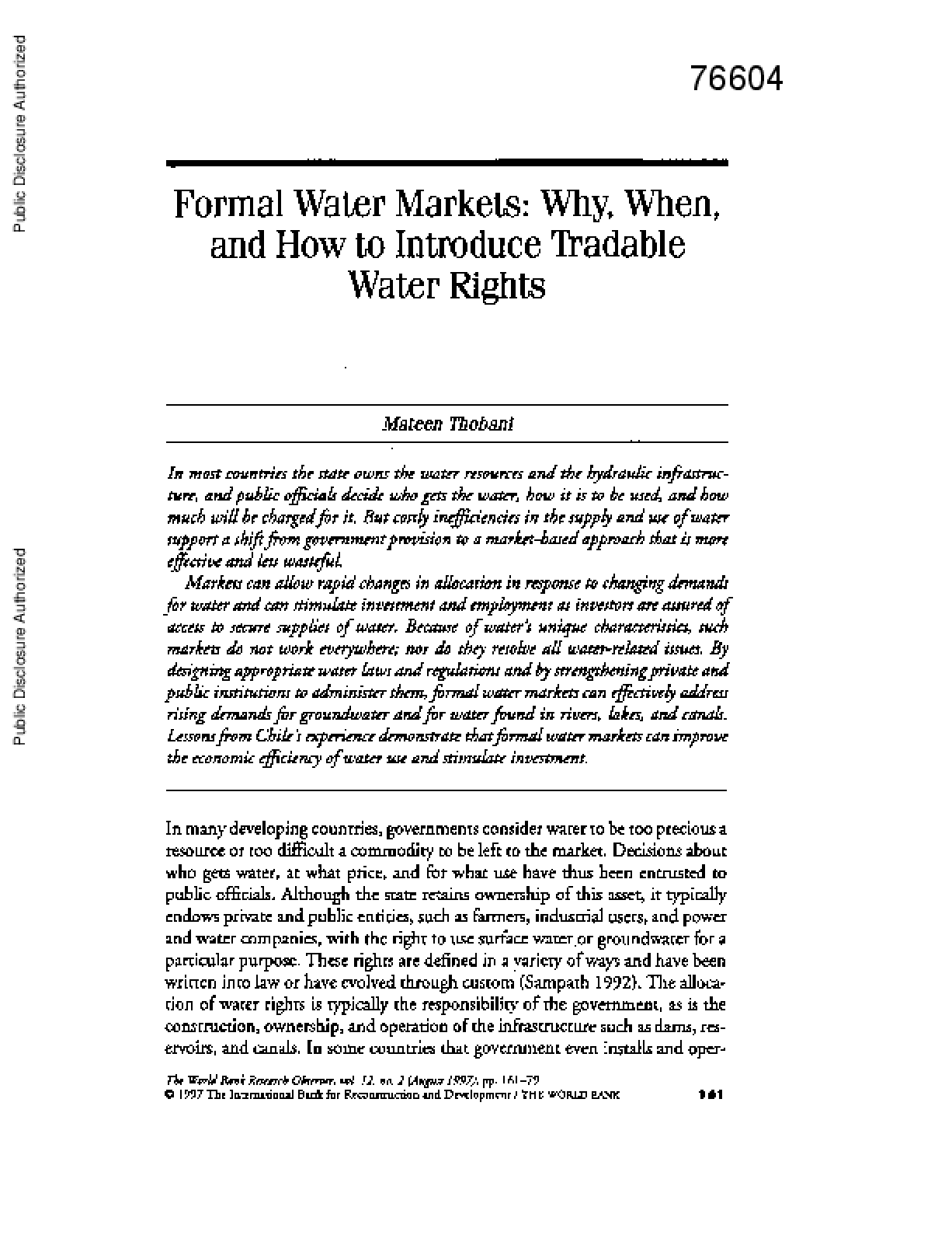 Formal Water Markets: Why, When, and How to Introduce Tradable Water Rights