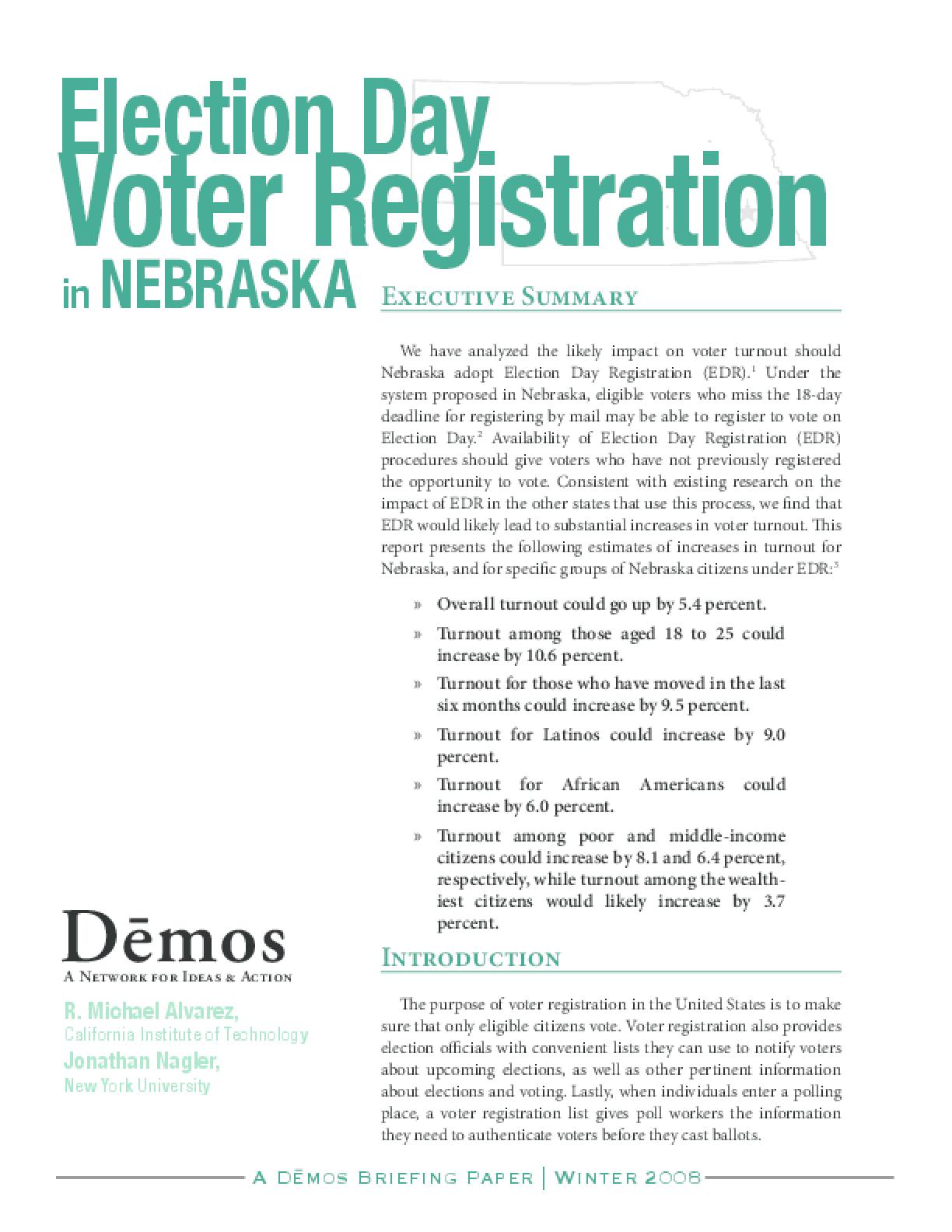 Election Day Voter Registration in Nebraska