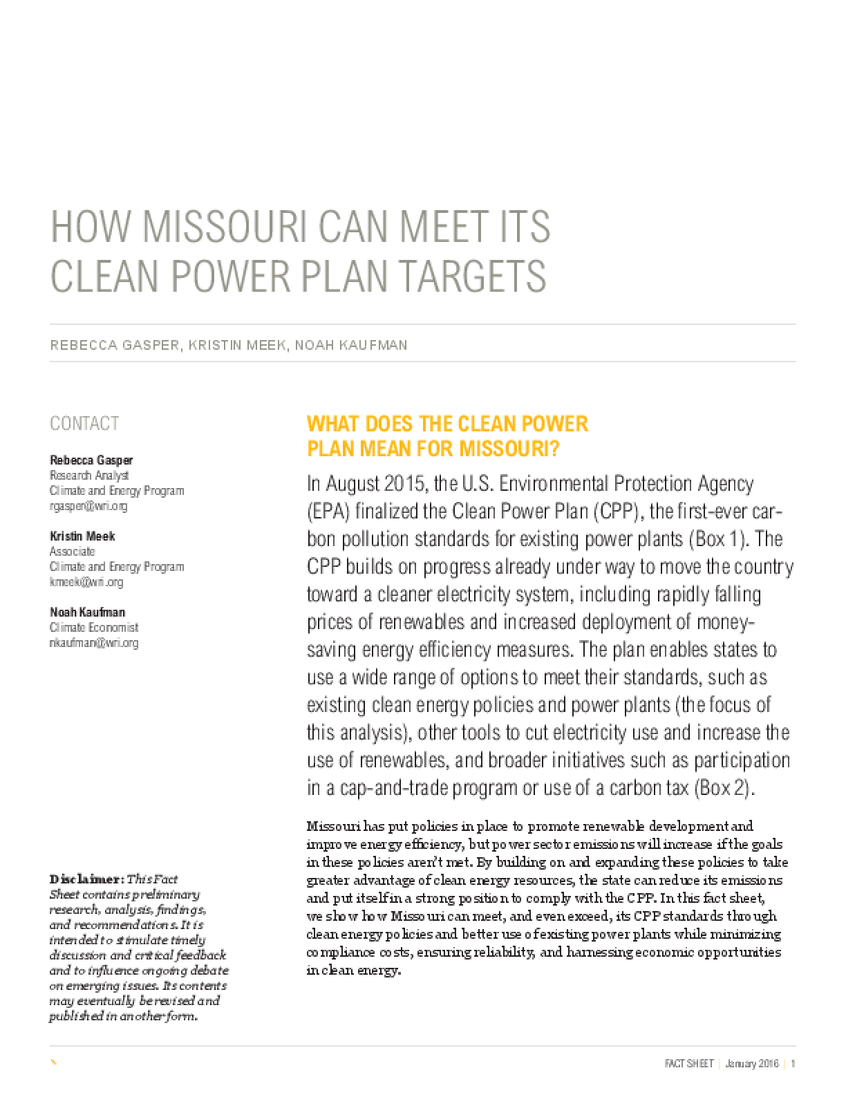 How Missouri Can Meet Its Clean Power Plan Targets