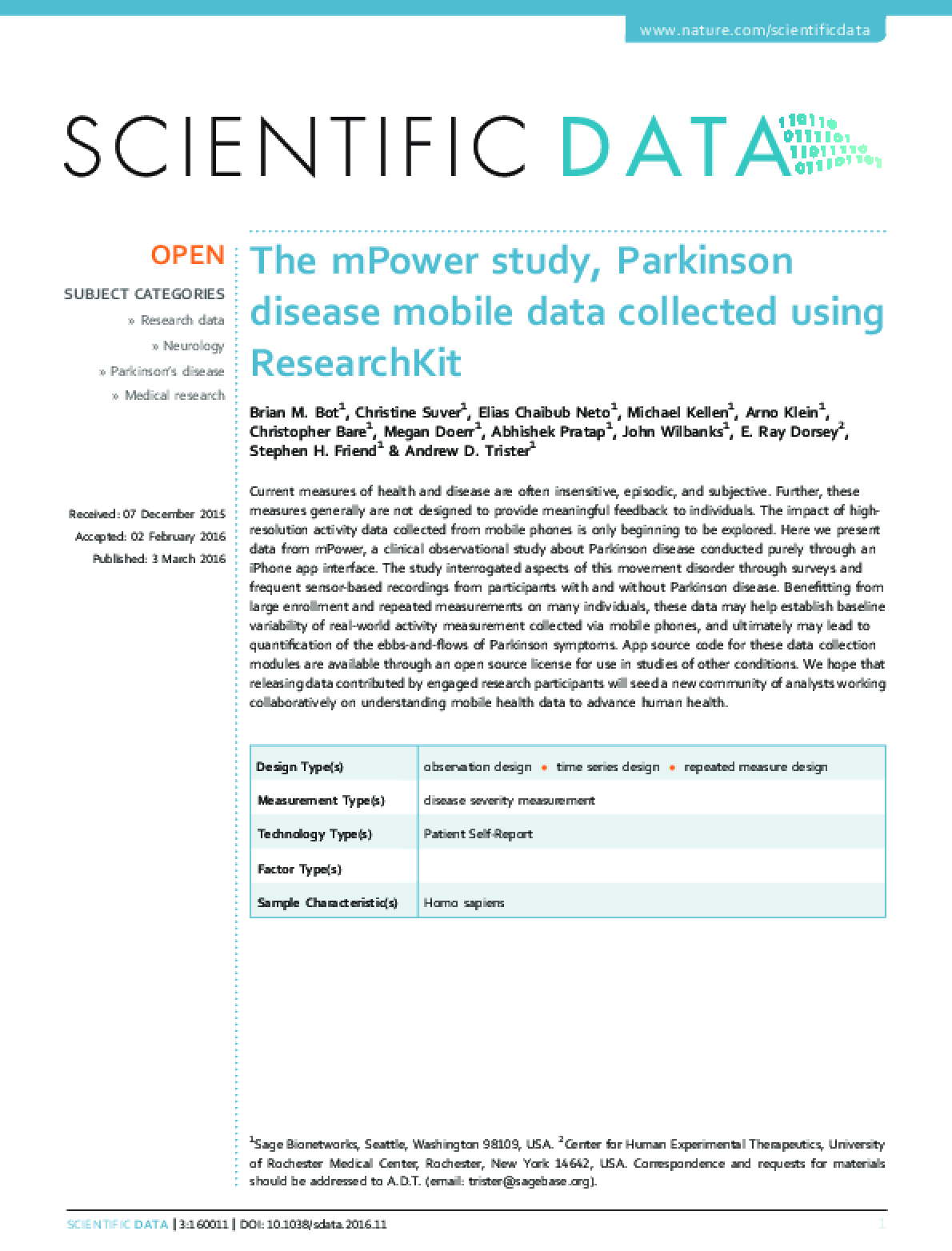 The mPower Study, Parkinson Disease Mobile Data Collected Using Researchkit
