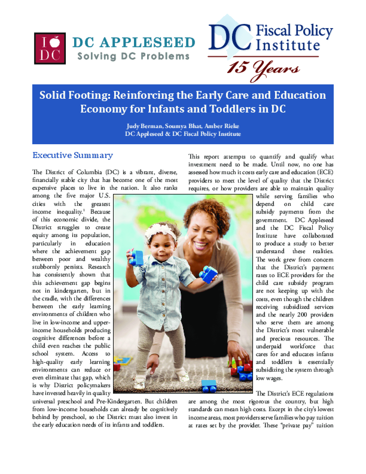 Solid Footing: Reinforcing the Early Care and Education Economy for Infants and Toddlers in DC