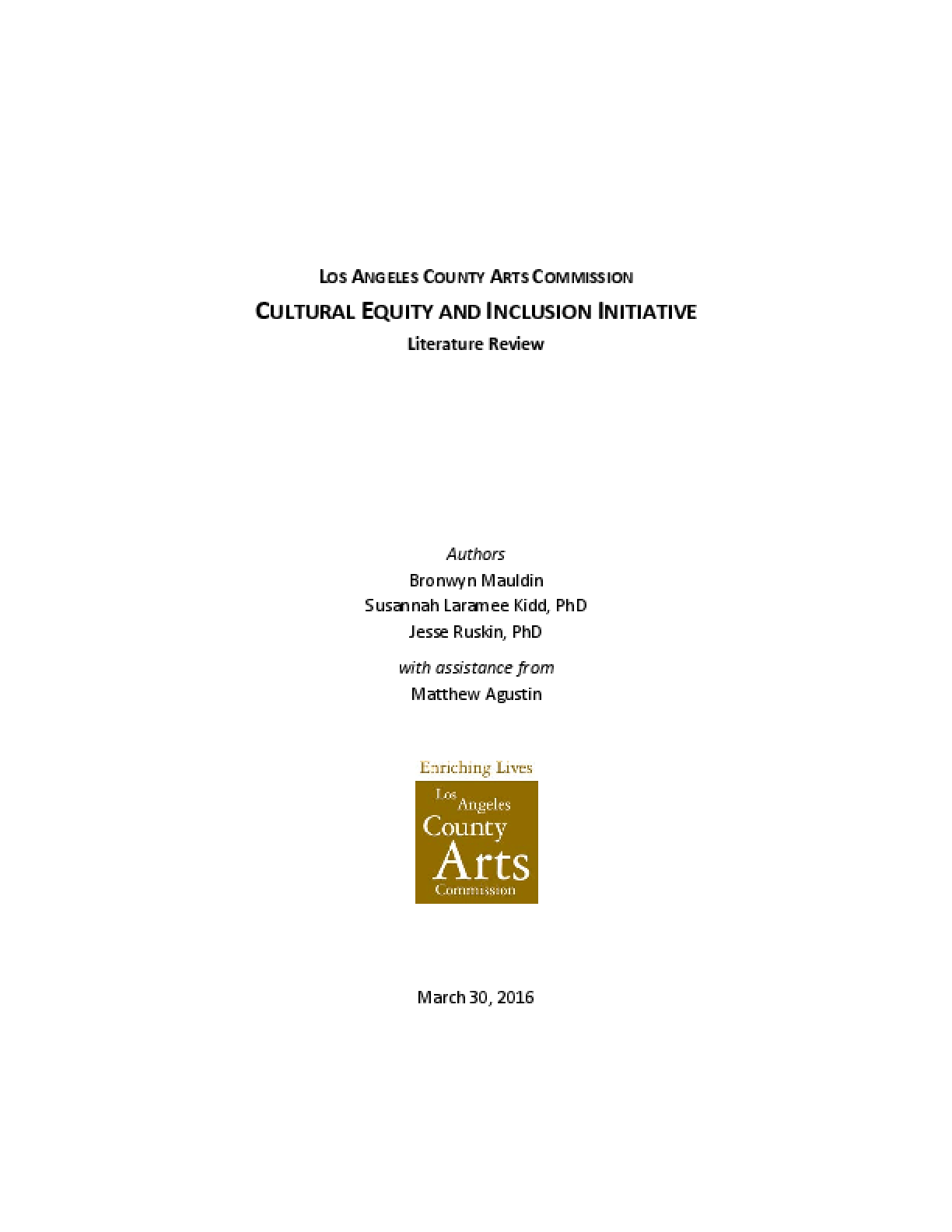 Cultural Equity and Inclusion Initiative: Literature Review